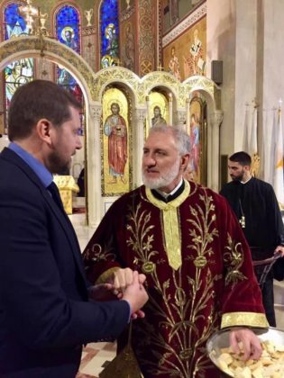 With Archbishop Elpidophoros of America at Holy Trinity Cathedral, New York, NY, June 2019.