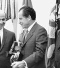 Mr. Rossides, left, was an assistant secretary of the Treasury in October 1969 when President Richard M. Nixon received a commemorative trophy marking the 100th anniversary of the Secret Service. Mr. Rossides oversaw the agency. At right was James J. Rowley, director of the Secret Service. UPI