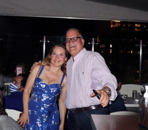 Michele Mitrovich with Argyris Argitakos at the Mykonos Blue Event