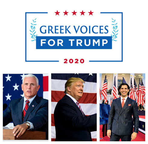 (Vice-President Mike Pence, President Donald J. Trump, and Greek Voices Chairman, Christos Marafatsos)