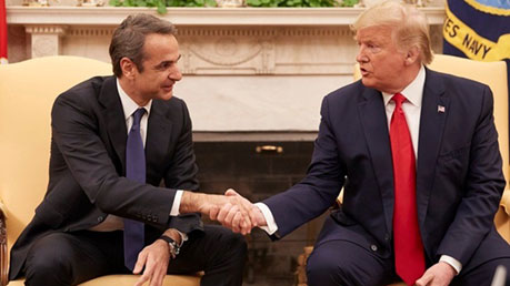 (Prime Minister Kyriakos Mitsotakis and President Donald J. Trump shake hands in a meeting at the White House)