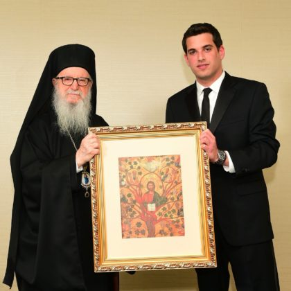 Archbishop Demetrios and George Petrocheilos upon being inducted into the Leadership 100