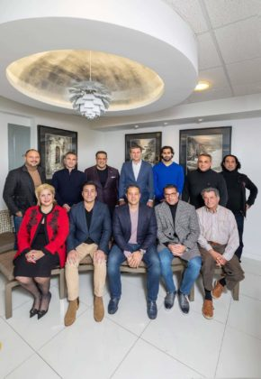 Members of the Athens Square Tree Committee. Back Row: Luca Di Ciero, NY Space Finders, Andrew Latos, Rock, Health, Fitness, Tonino Sacco, Sacco & Fillas, LLP, Kirk Karabelas, Alma Bank, Gus Antonopoulos, Farenga Funeral Home, Anastasios Mentis, Mentis Photography. Front Row: Maria Markou, Markou Global Legal Group, Gus Lambropoulos, Committee Chair, and Agora Asset Management (AAM), Elias Fillas Committee Co-Chair, Sacco & Fillas LLP, Ari Tsatsaronis, Rock, Health, Fitness, and George Delis; PHOTO: ANASTASSIOS MENTIS