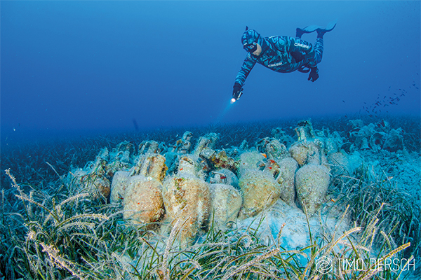 JUST OFF THE COAST of Alonissos, Greece, this underwater museum of an ancient wreckage will allow divers to be transported back in time, admiring beautiful amphoras and ruins from the 5th century B.C. Photo courtesy of Timo Dersch Photography.